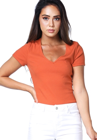 V-Neck Ribbed Top