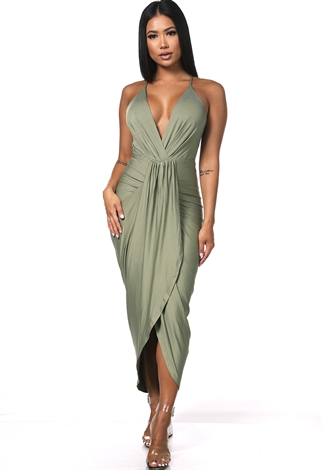 V-Neck High Low Maxi Dress