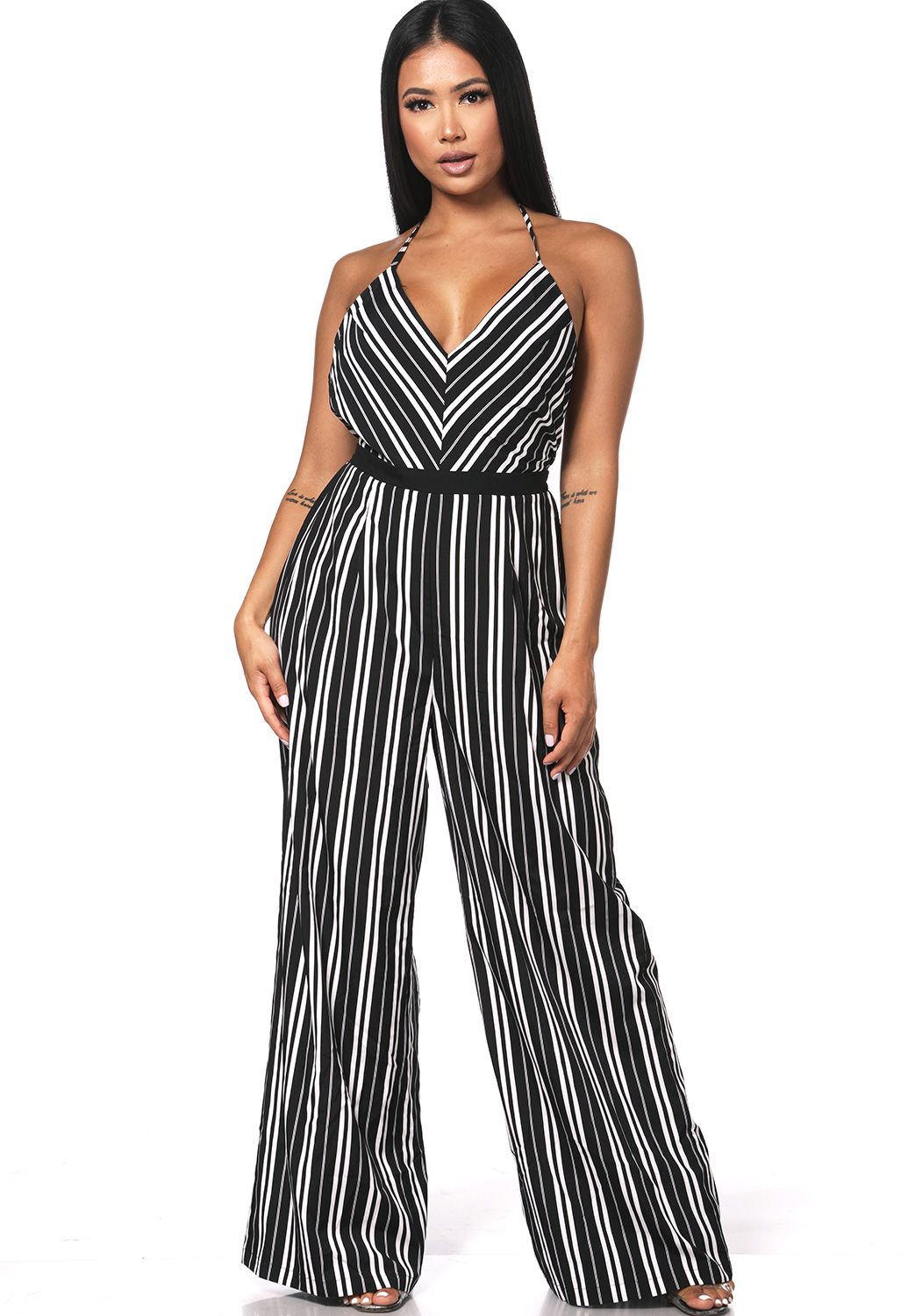 Back Open Striped Jumpsuit