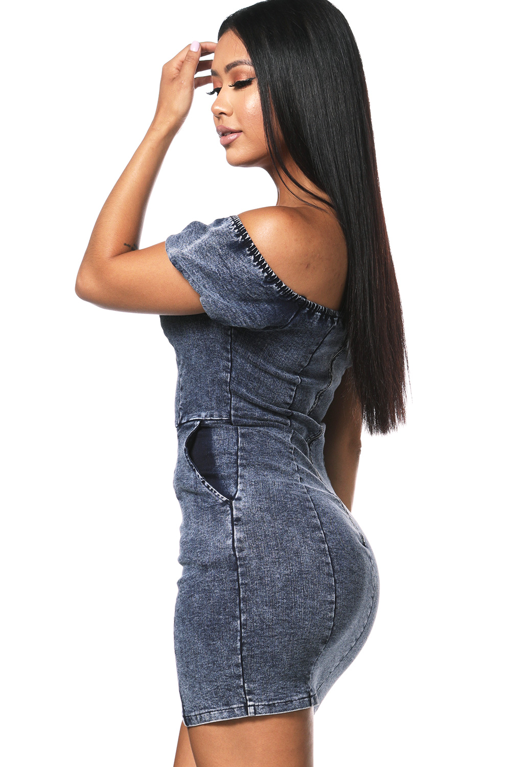 Off The Shoulder Denim Mini Dress