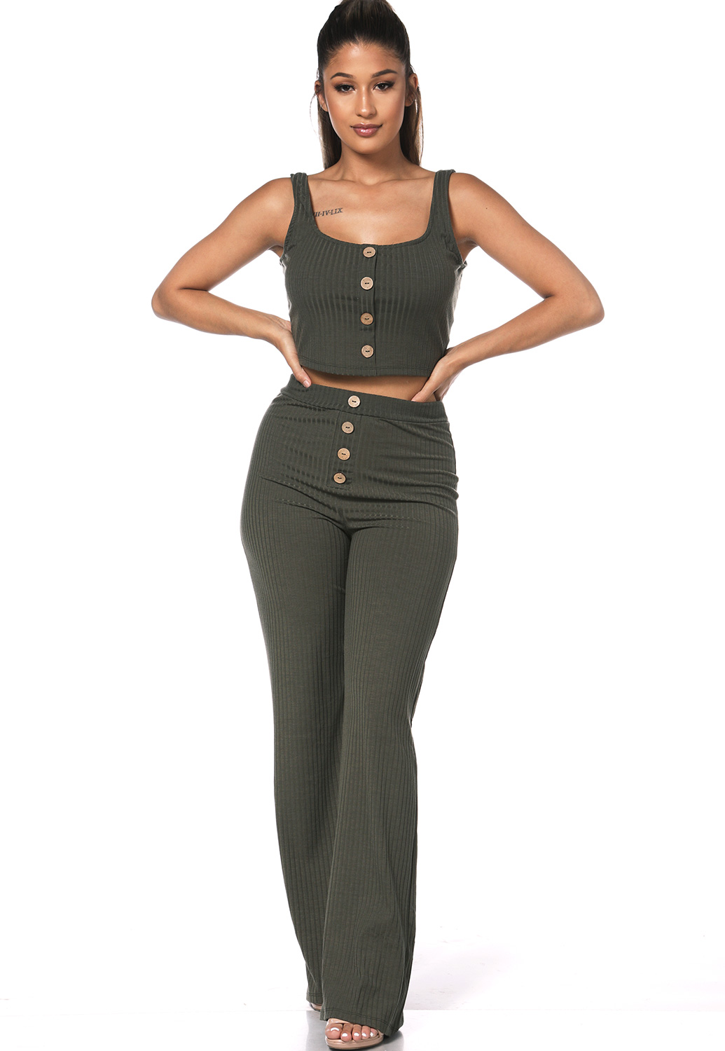 Ribbed Button Detail Pants