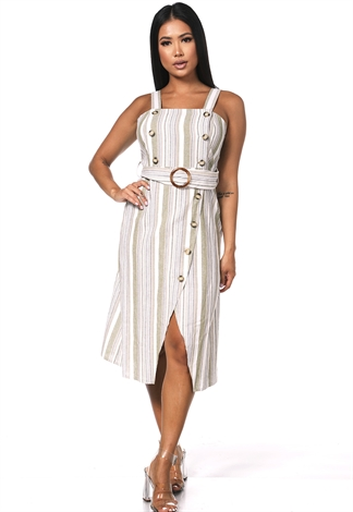 Belted Multi Button Dress