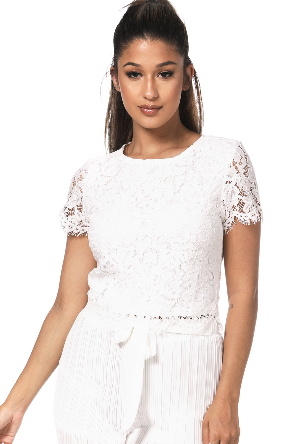 Floral Lace Panel Dressy Top
