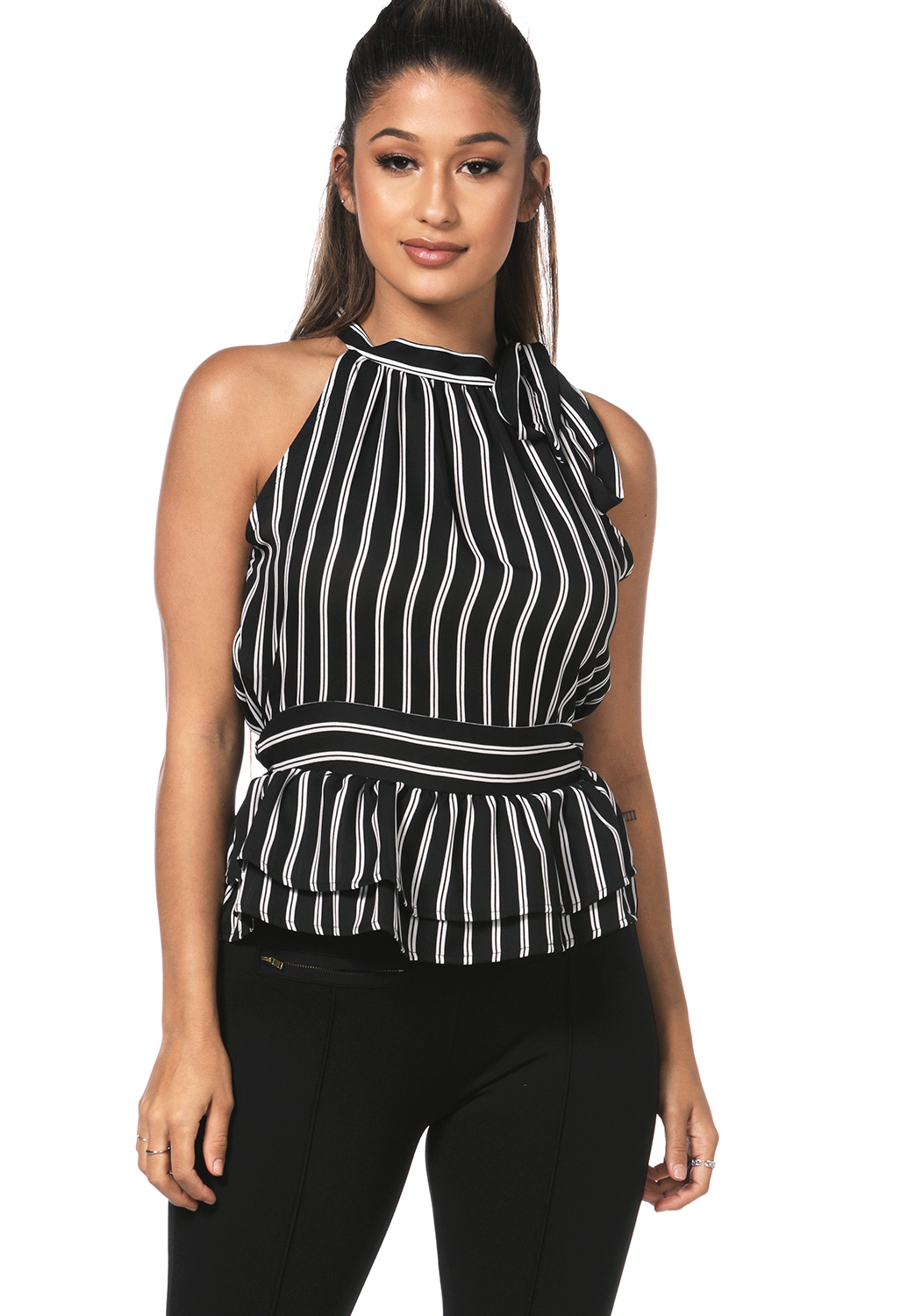Striped Tie Neck Dressy Top