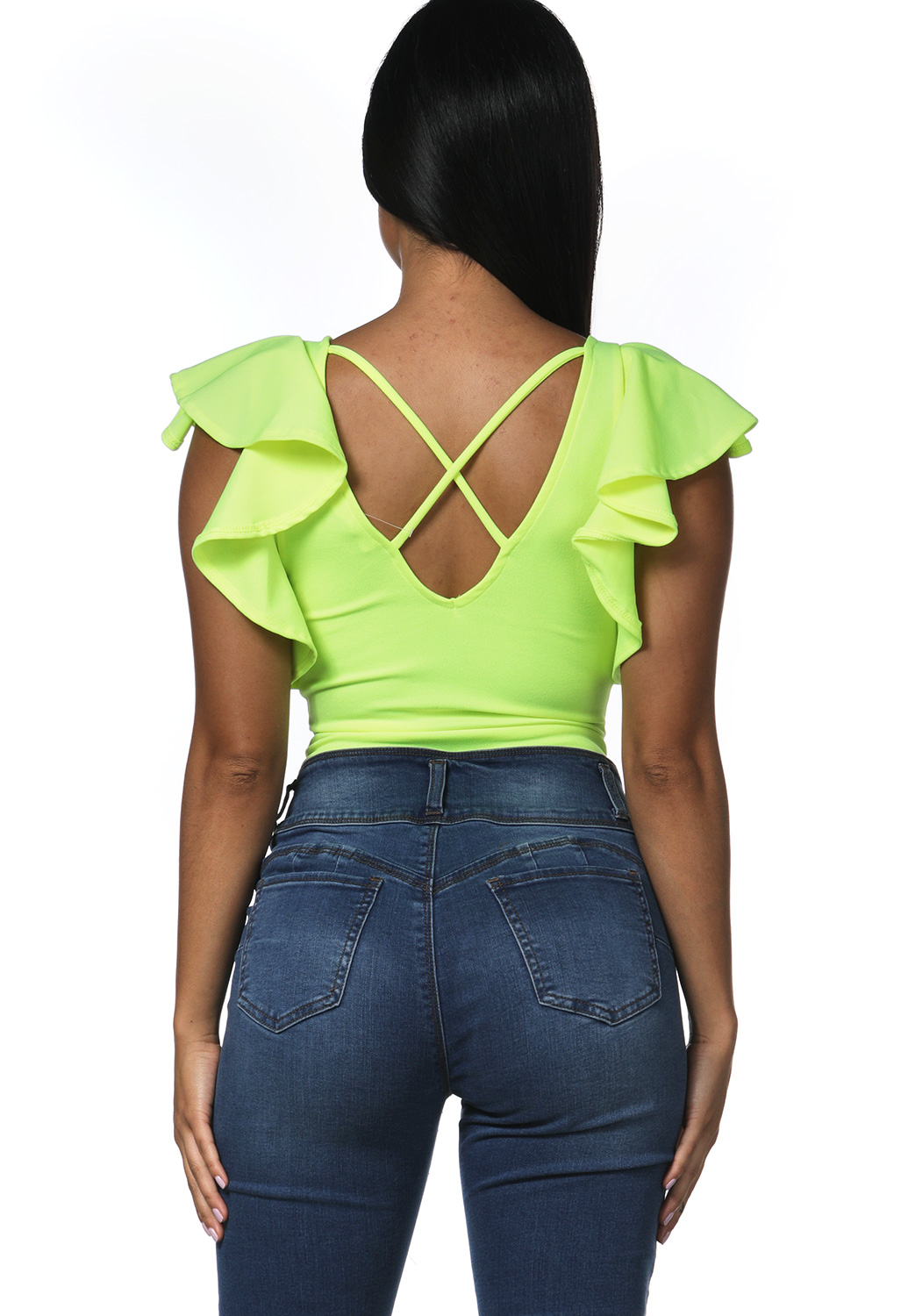 V-Neck Flare Trim Bodysuit