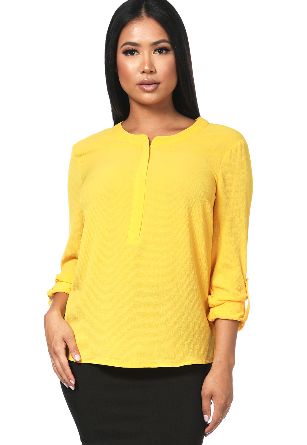 Zip-Front Textured Blouse