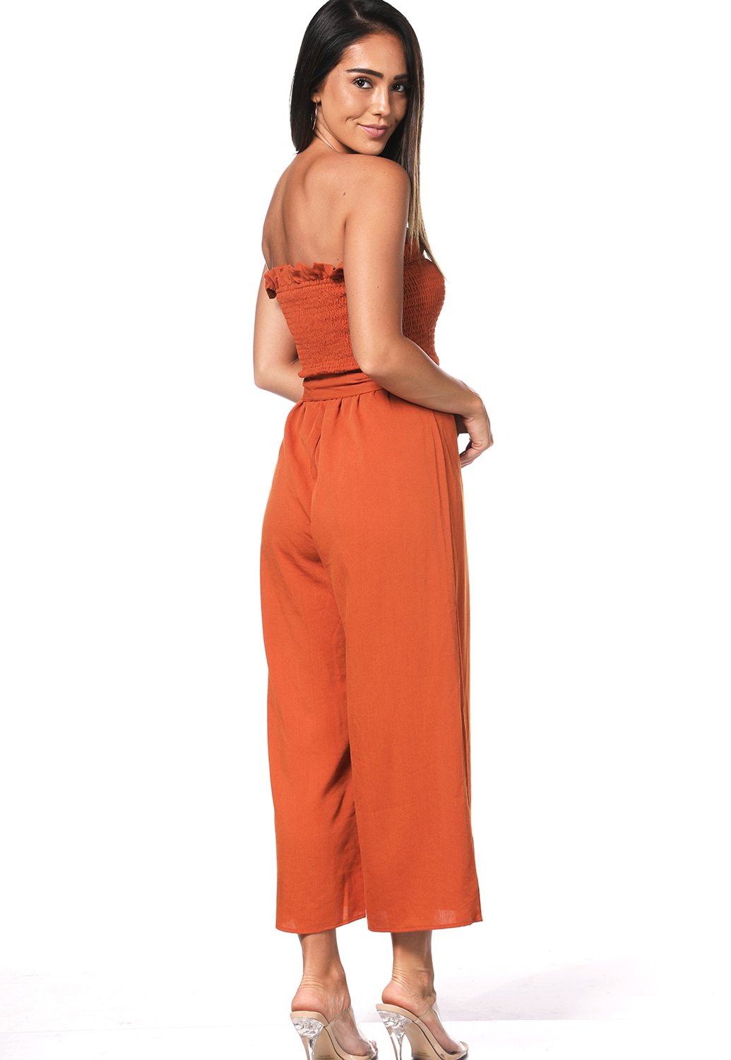 Smocked Detail Tie Front Jumpsuit