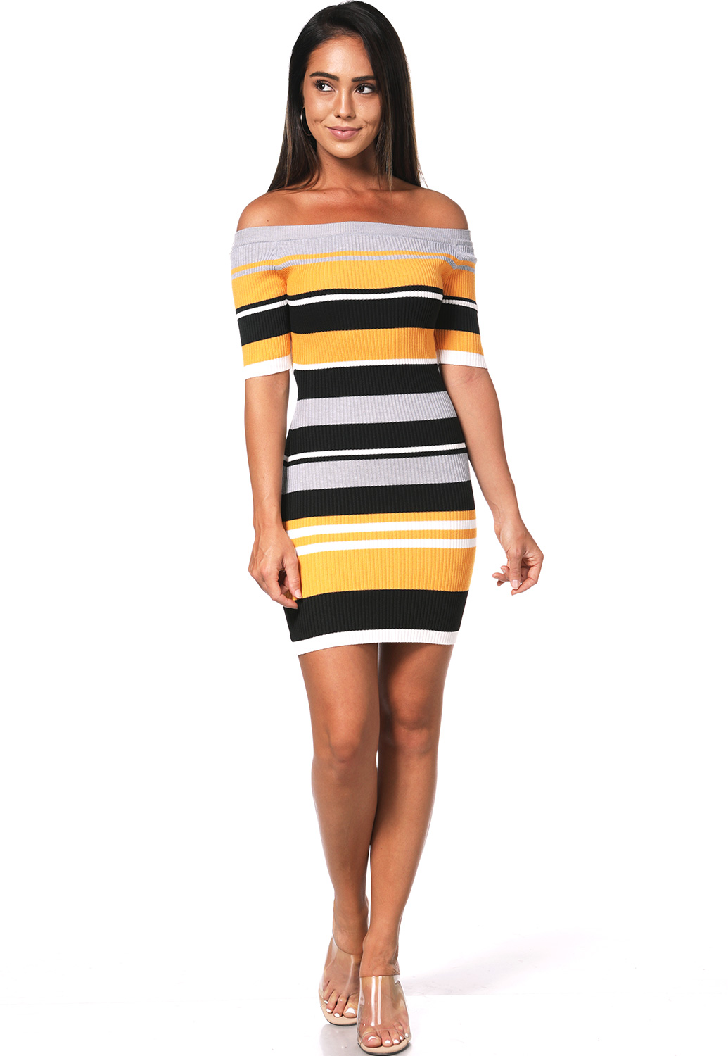 Striped Knit Bodycon Dress