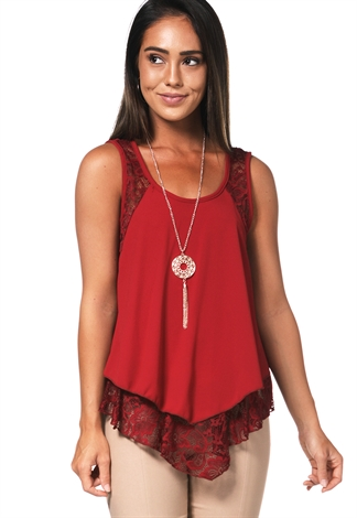 Back Lace Trim Dressy Top W/Necklace