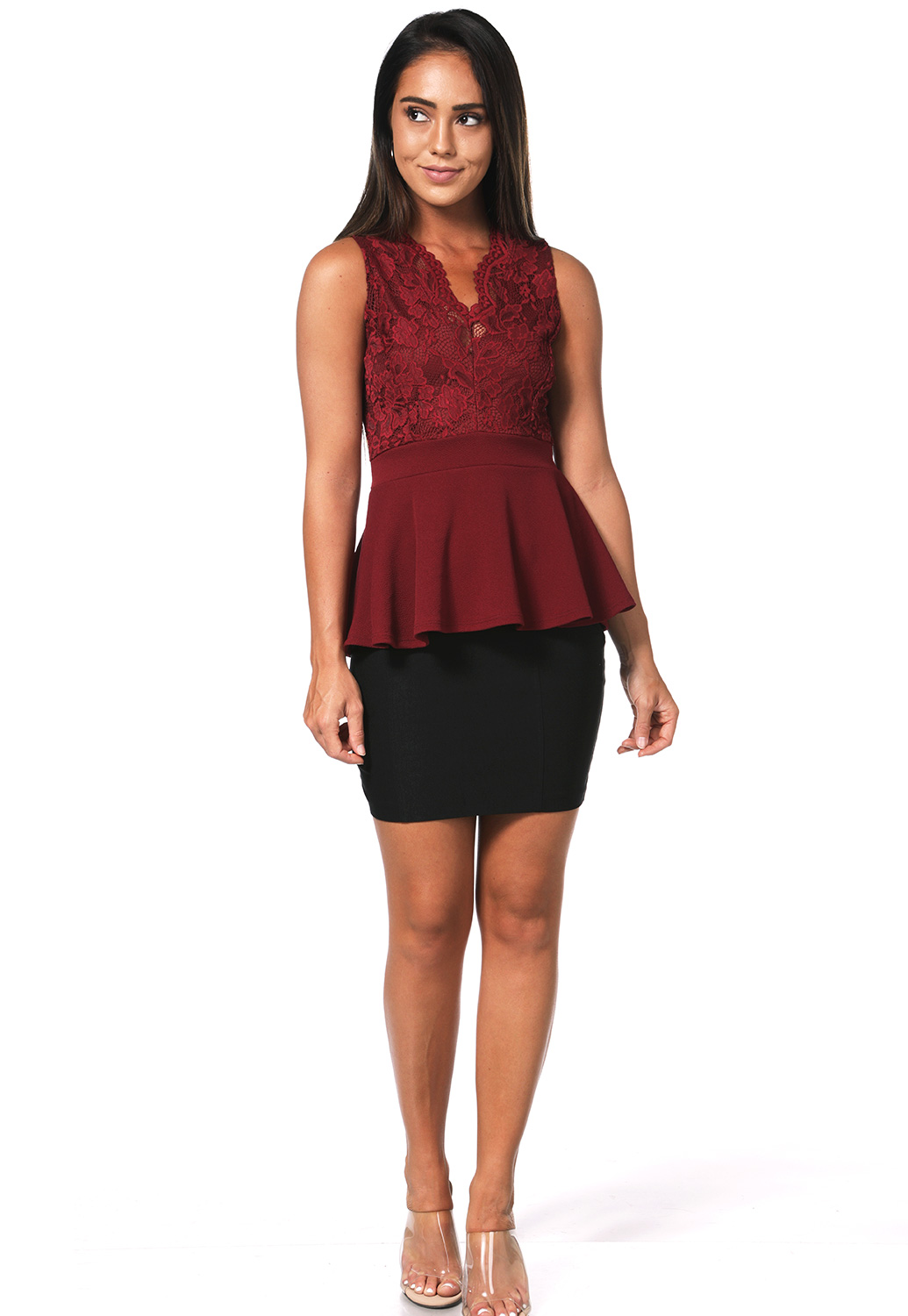 V_Neck Lace Trim Top