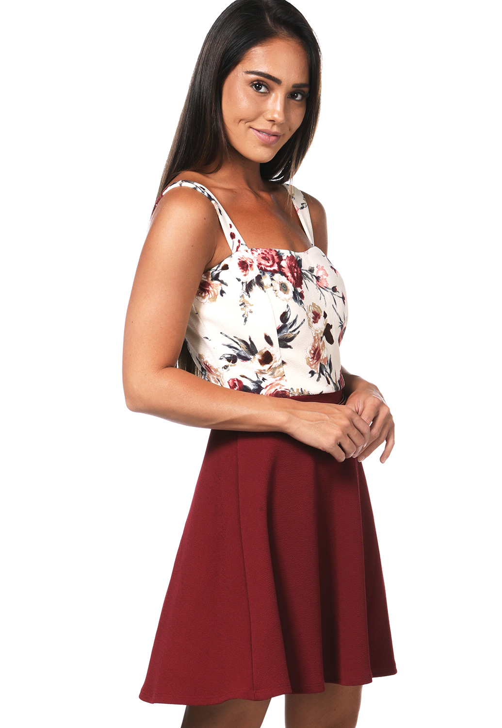 Floral Belted Detail Mini Dress