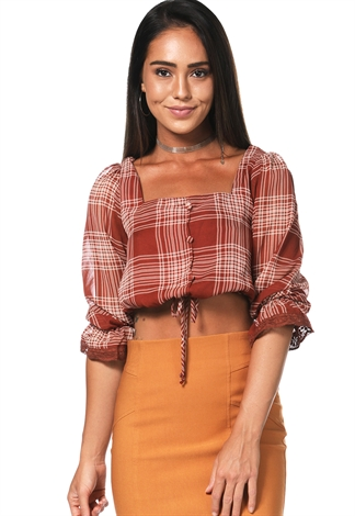 Plaid Square Neck Top