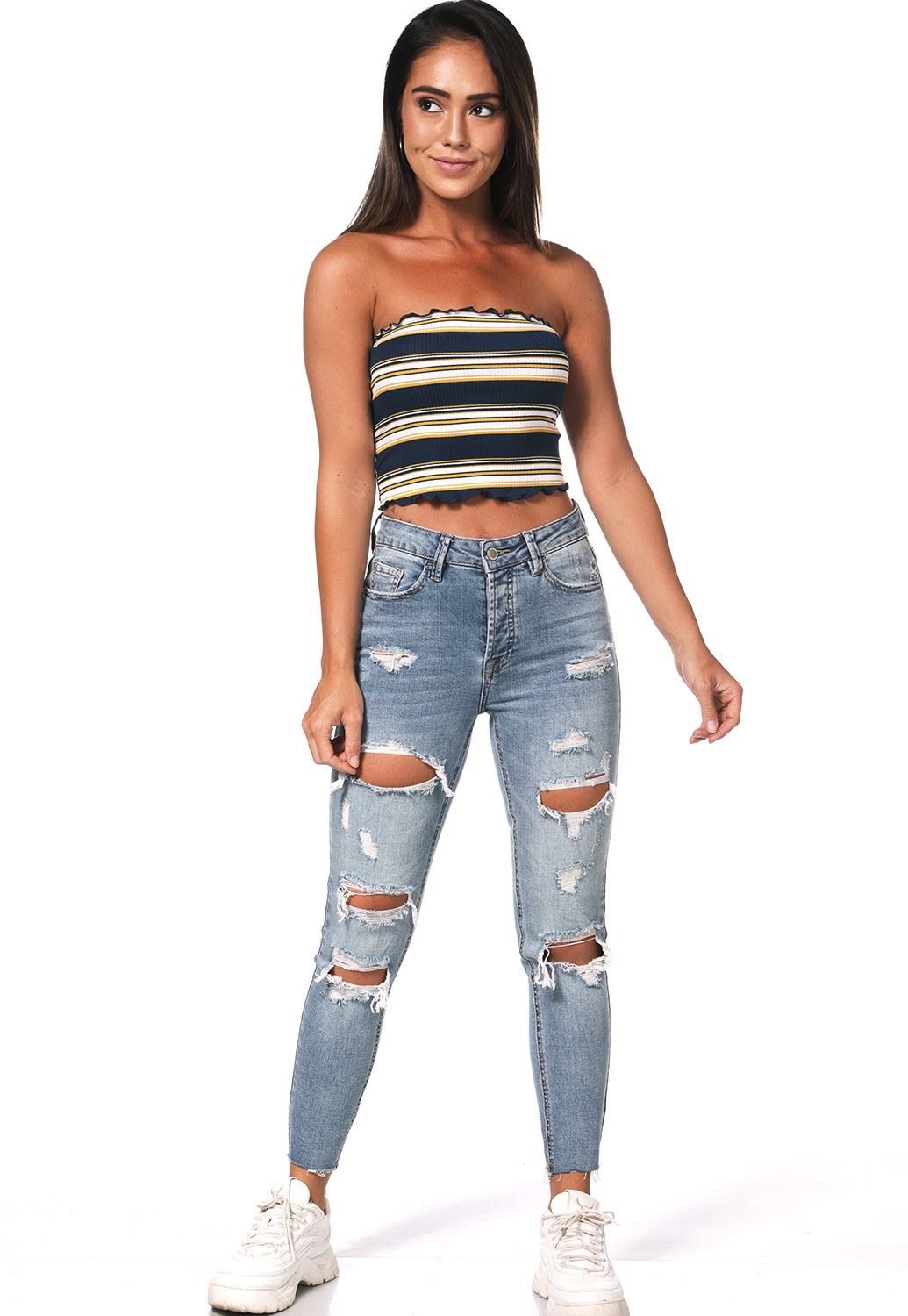 Striped Knit Crop Top