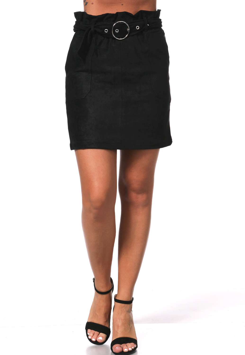 Belted Suede Mini Skirt