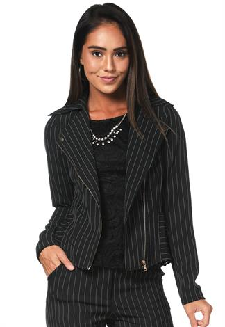 Striped Zip-Up Dressy Jacket