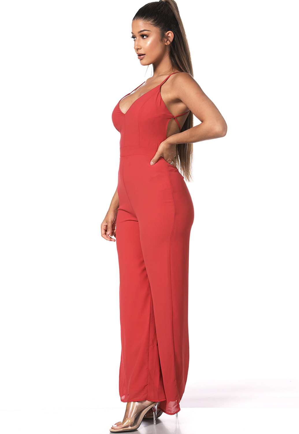 Cross Back V-Neck Jumpsuit
