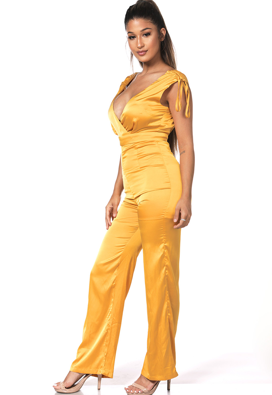 Surplice Satin Jumpsuit