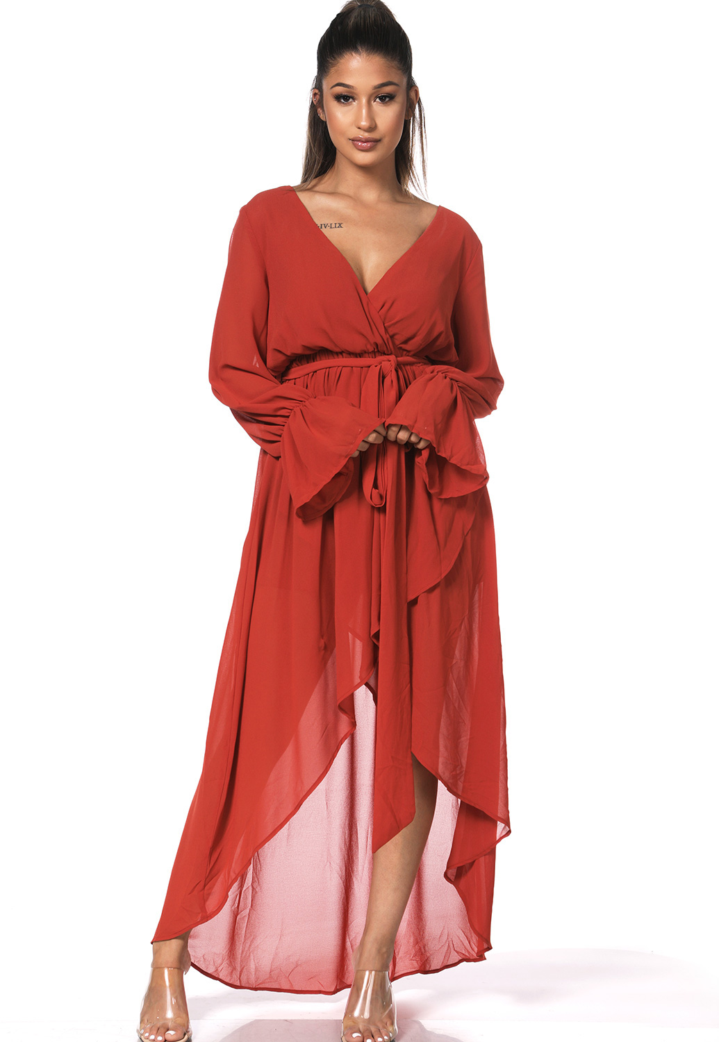High Low Surplice Maxi Dress