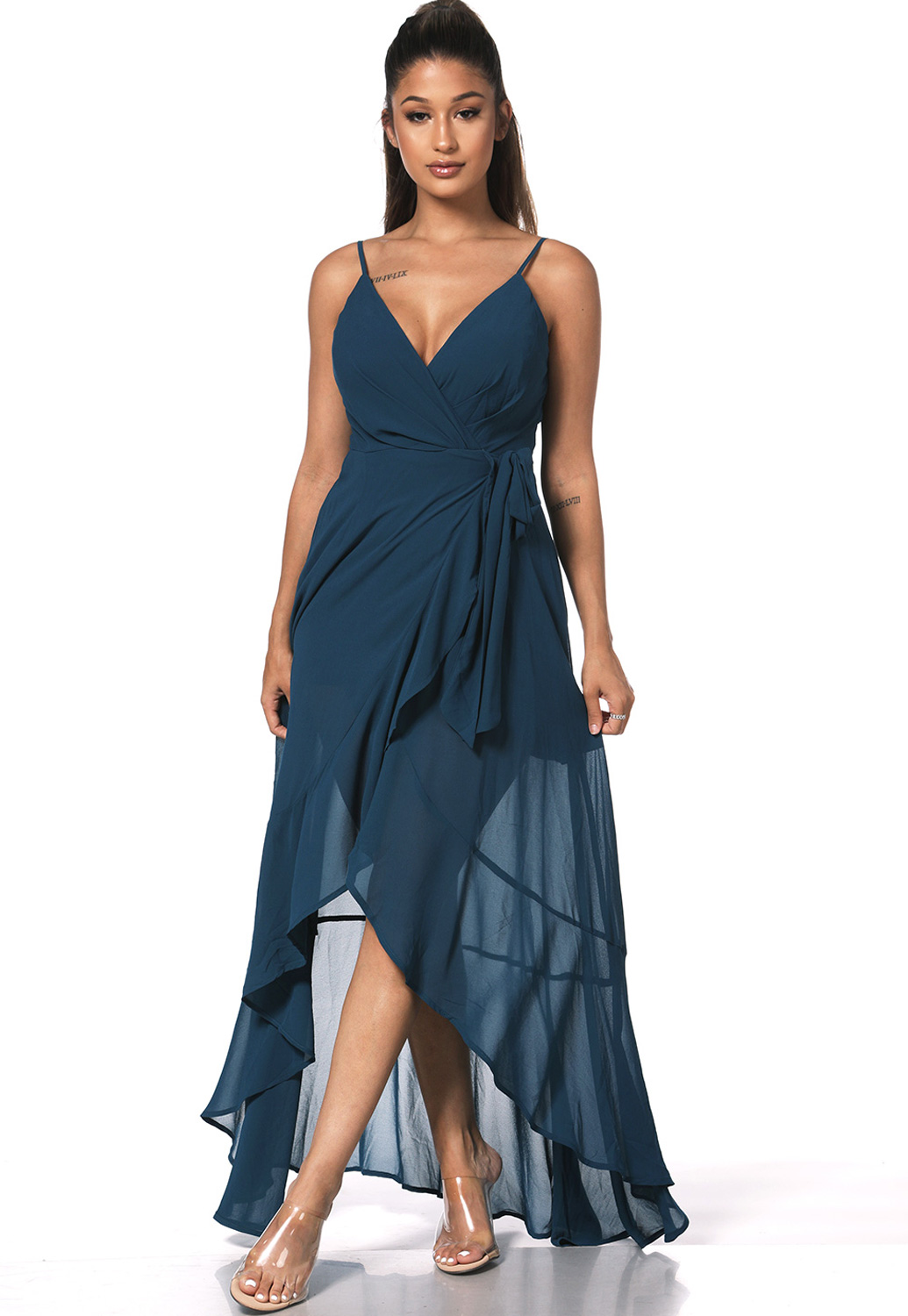 Surplice High Low Maxi Dress