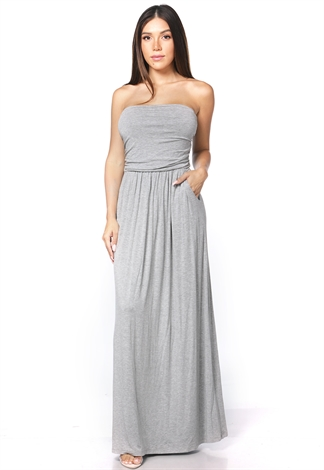Strapless Side Pocket Detail Maxi Dress
