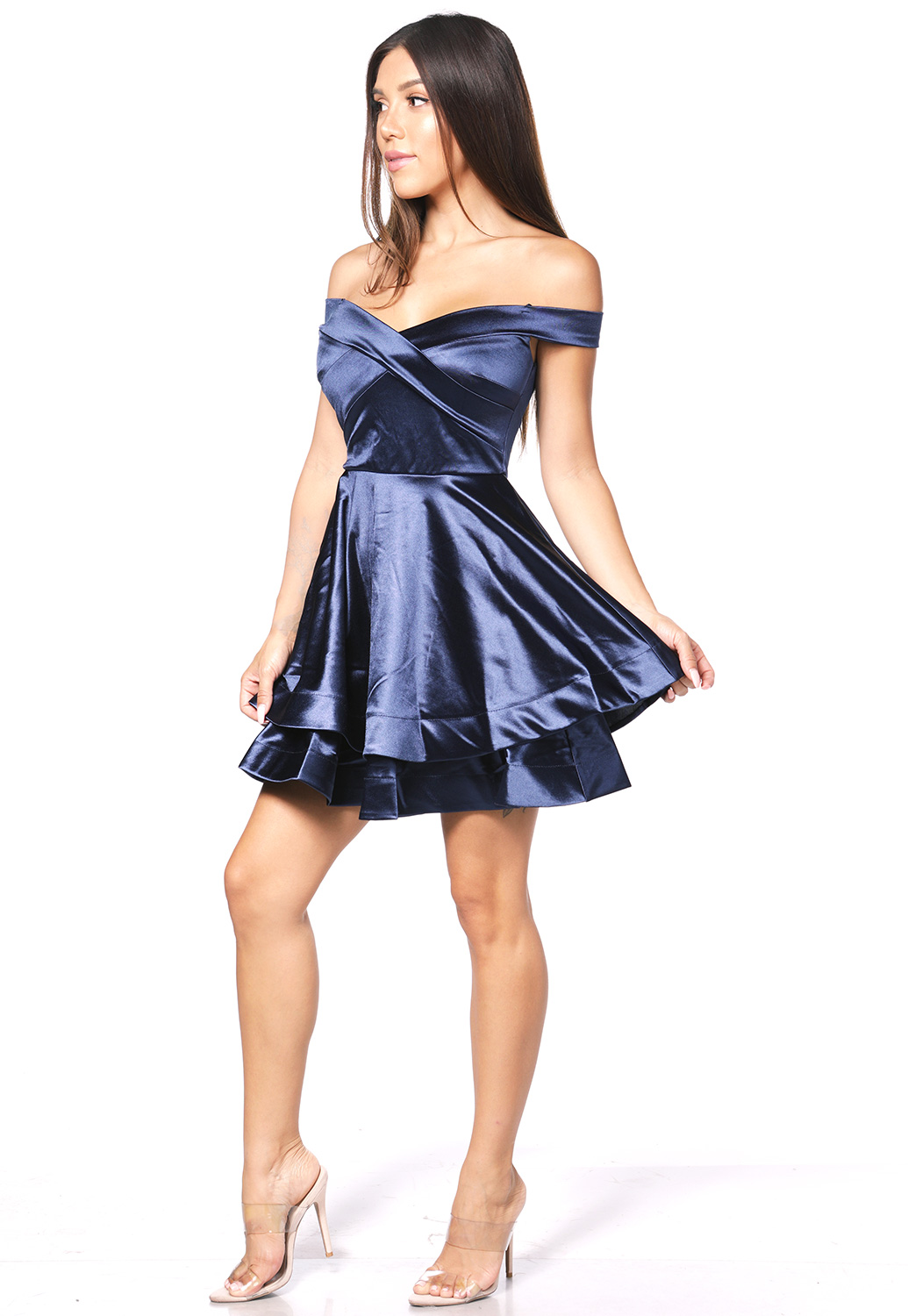 Satin Fit And Flare Mini Dress