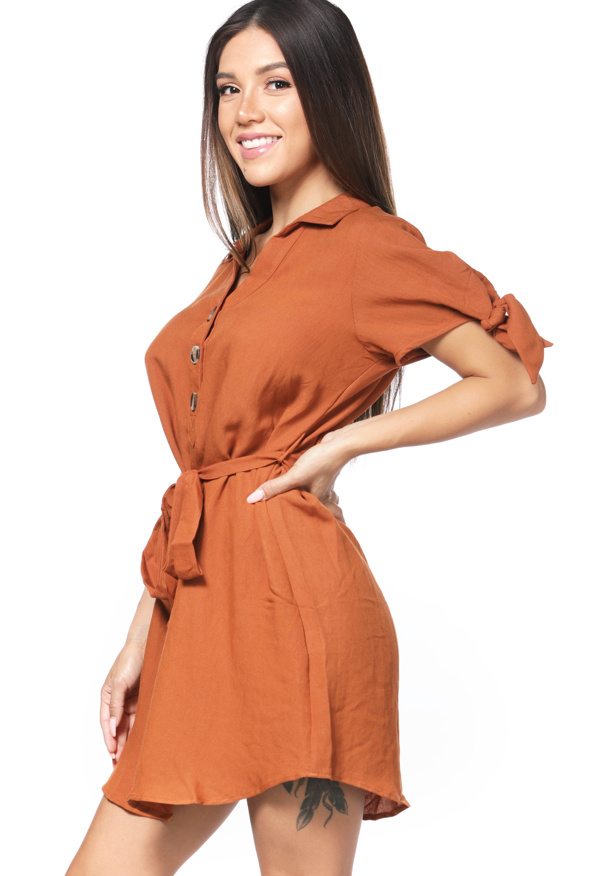 Tie Front Button Detail Dress