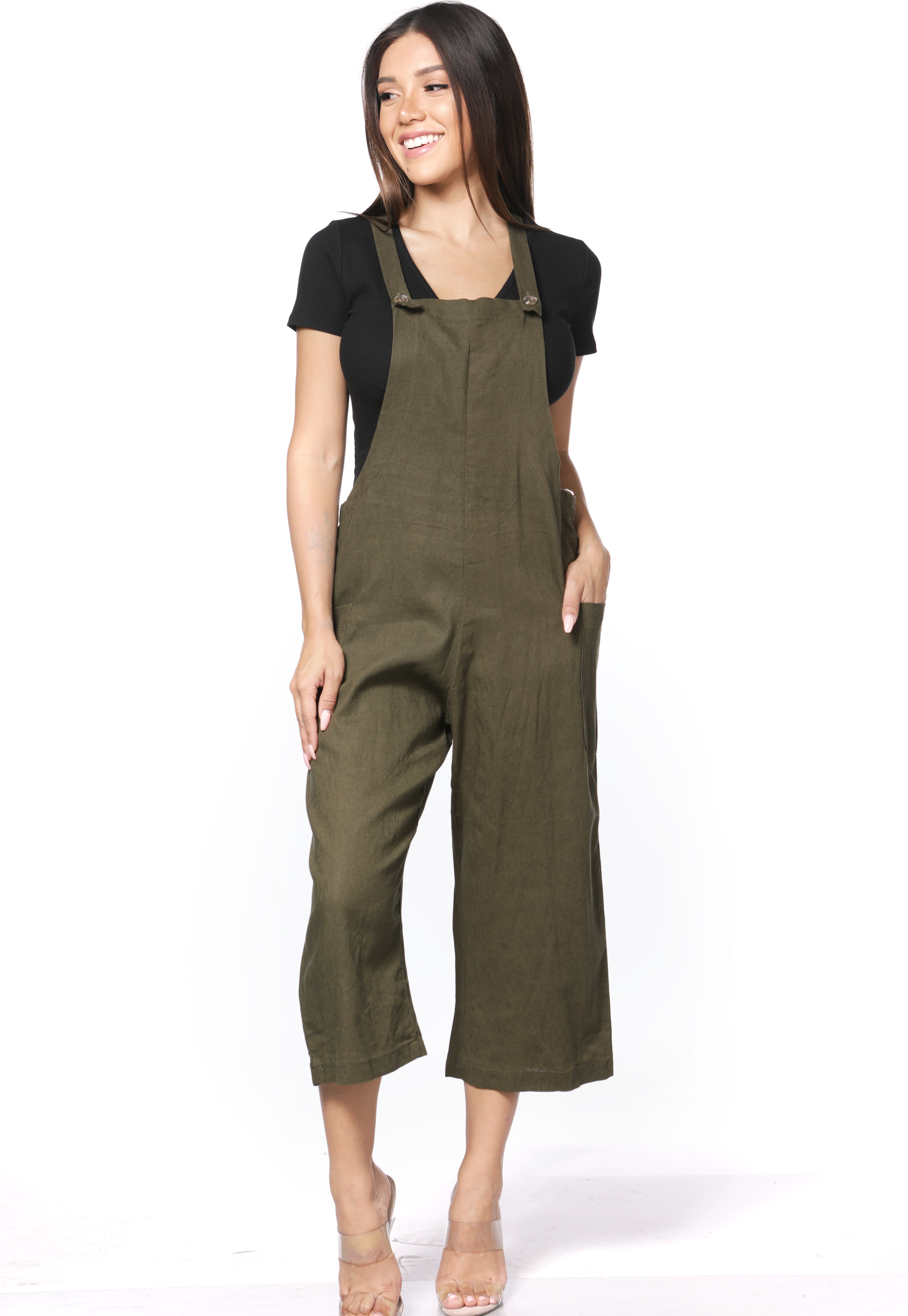 Button-Front Overalls