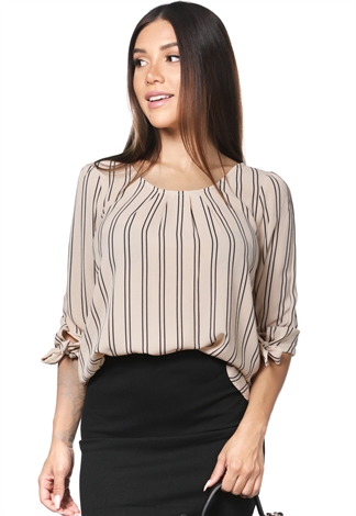 Pinstriped Long Sleeve Blouse