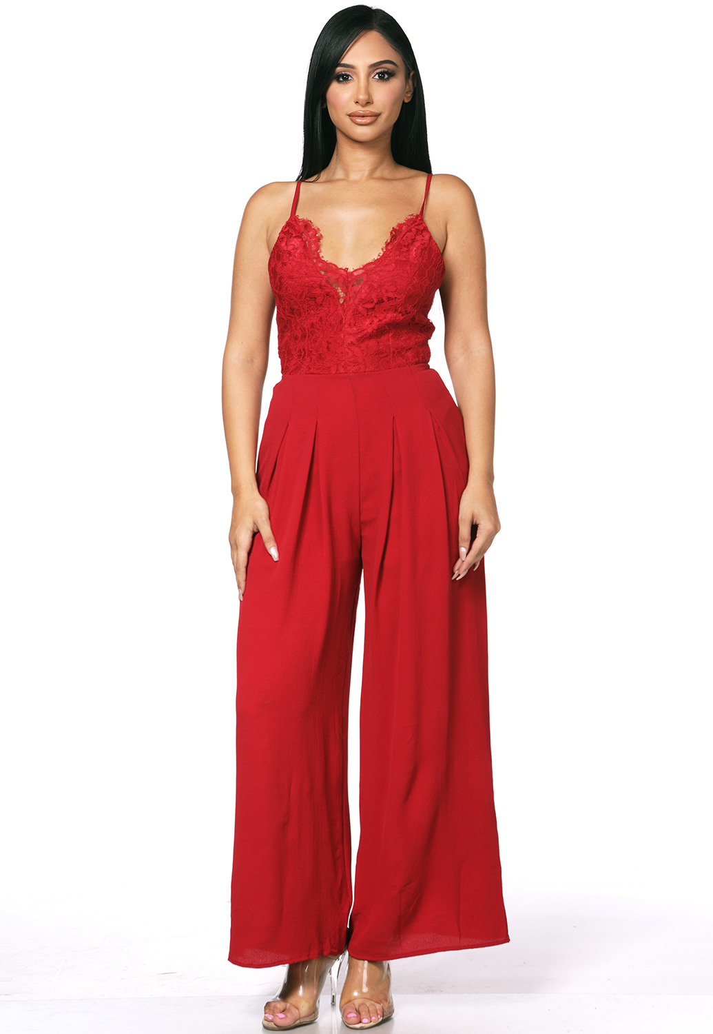 Tie Back Lace Trim Jumpsuit