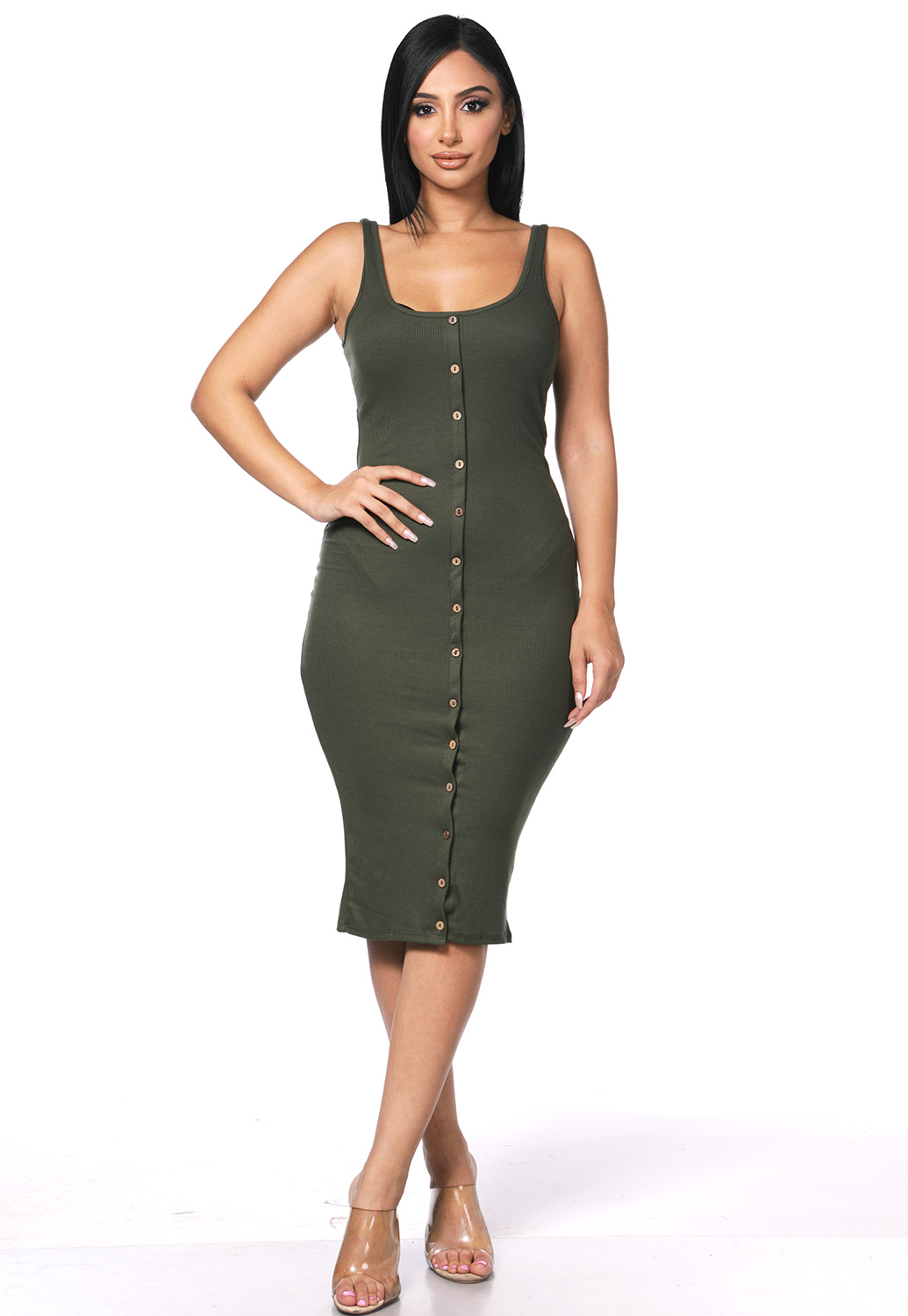 Ribbed Button Detail Dress
