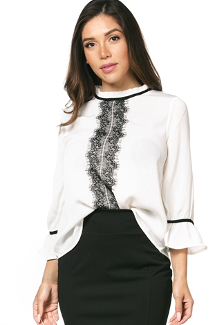 Lace Long Sleeve Dressy Blouse
