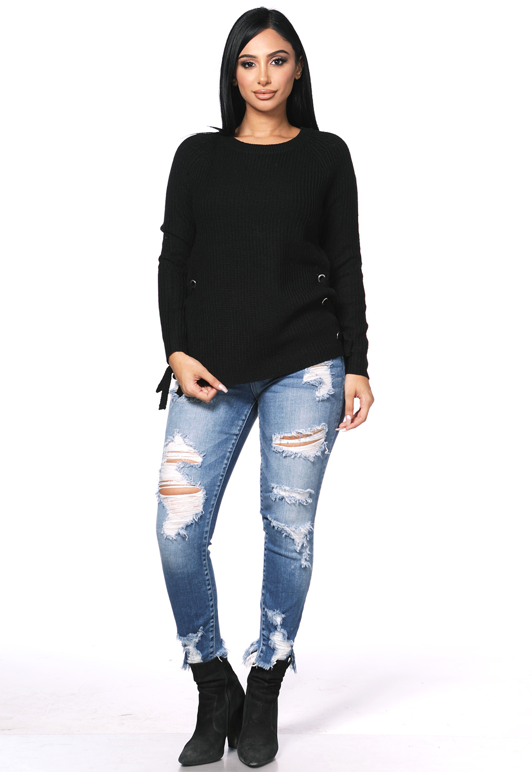 Knit Side Lace Up Sweater