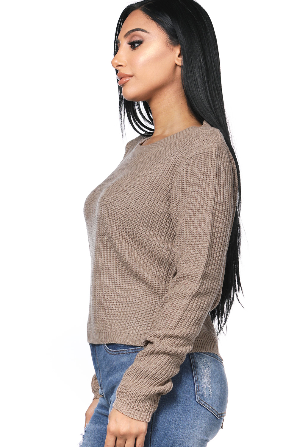 Back Lace Up Knit Sweater