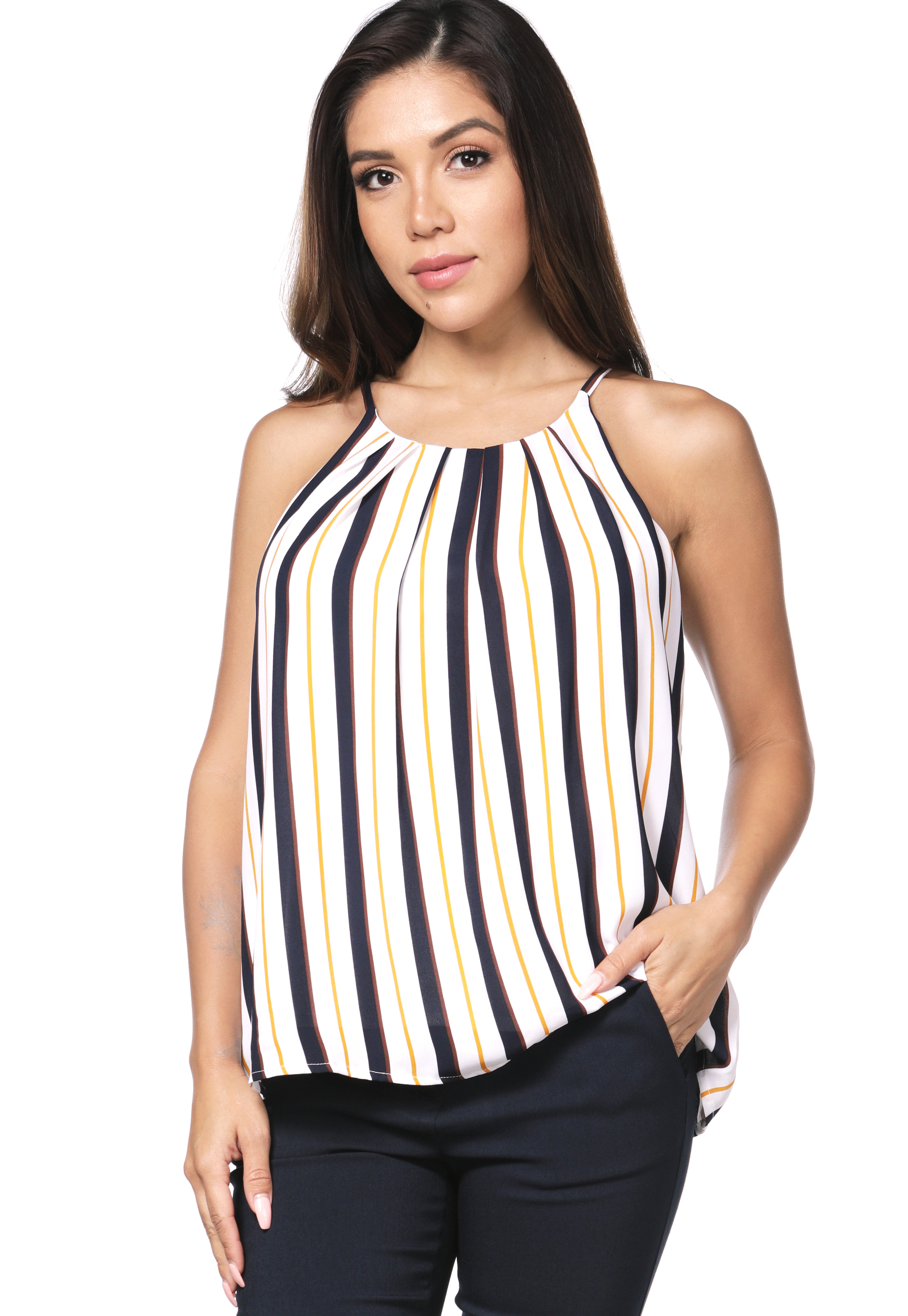 Pinstriped Chiffon Top
