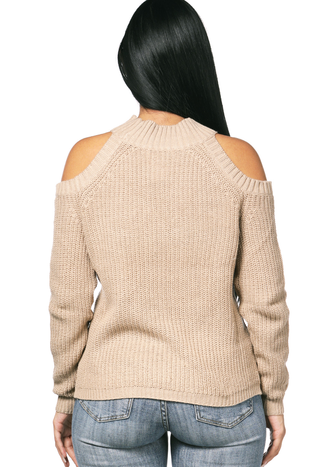 Open-Shoulder High-Neck Knit Top
