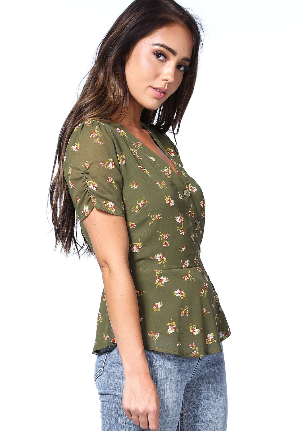 Floral Button Detail Top
