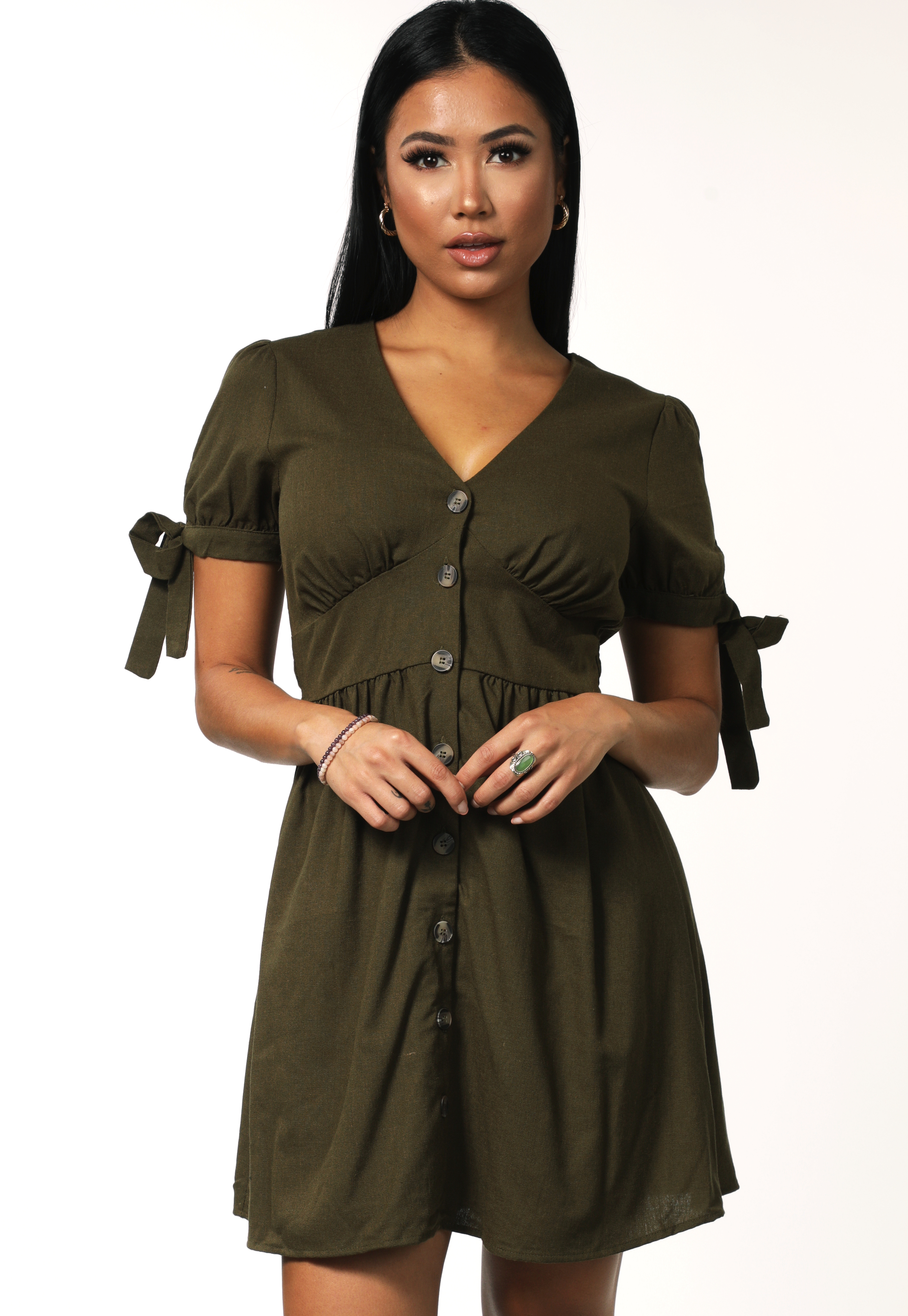 Tie Button Detail Dress