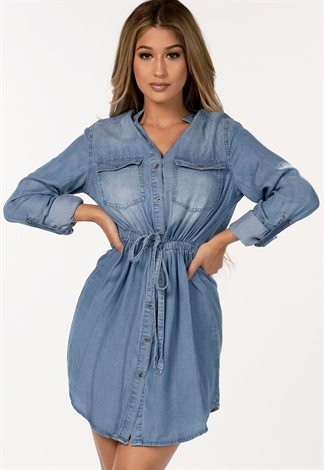 Drawstring Denim Mini Dress