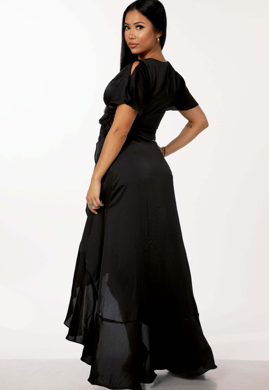 Tie Front High Low Maxi Dress