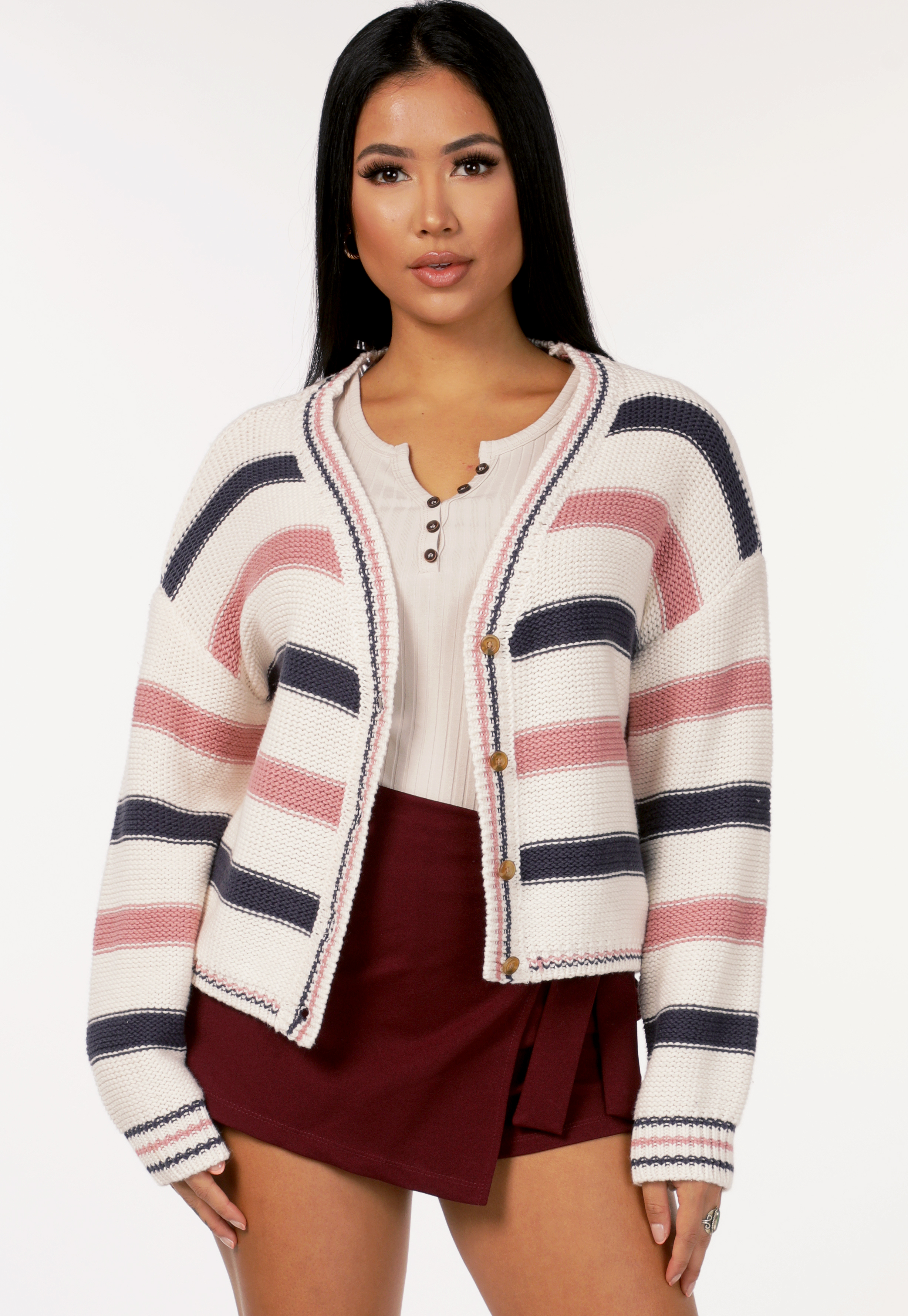 Striped Button Up Knit Cadigan