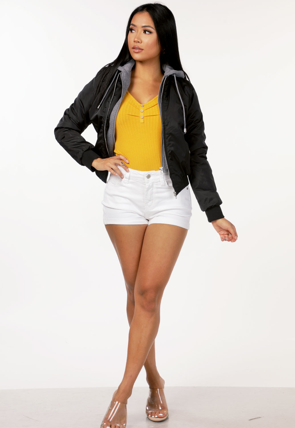 Hooded Zip Front Jacket