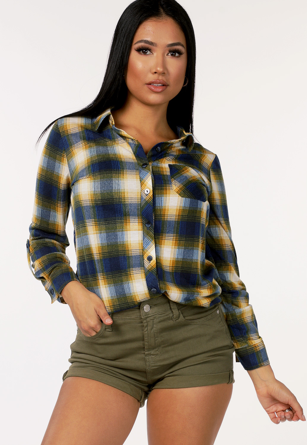 Plaid Flannel Button Up Blouse