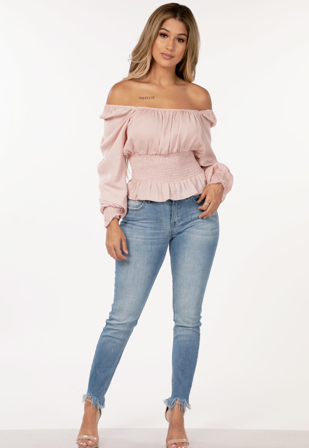 Off The Shoulder Smocked Detail Top