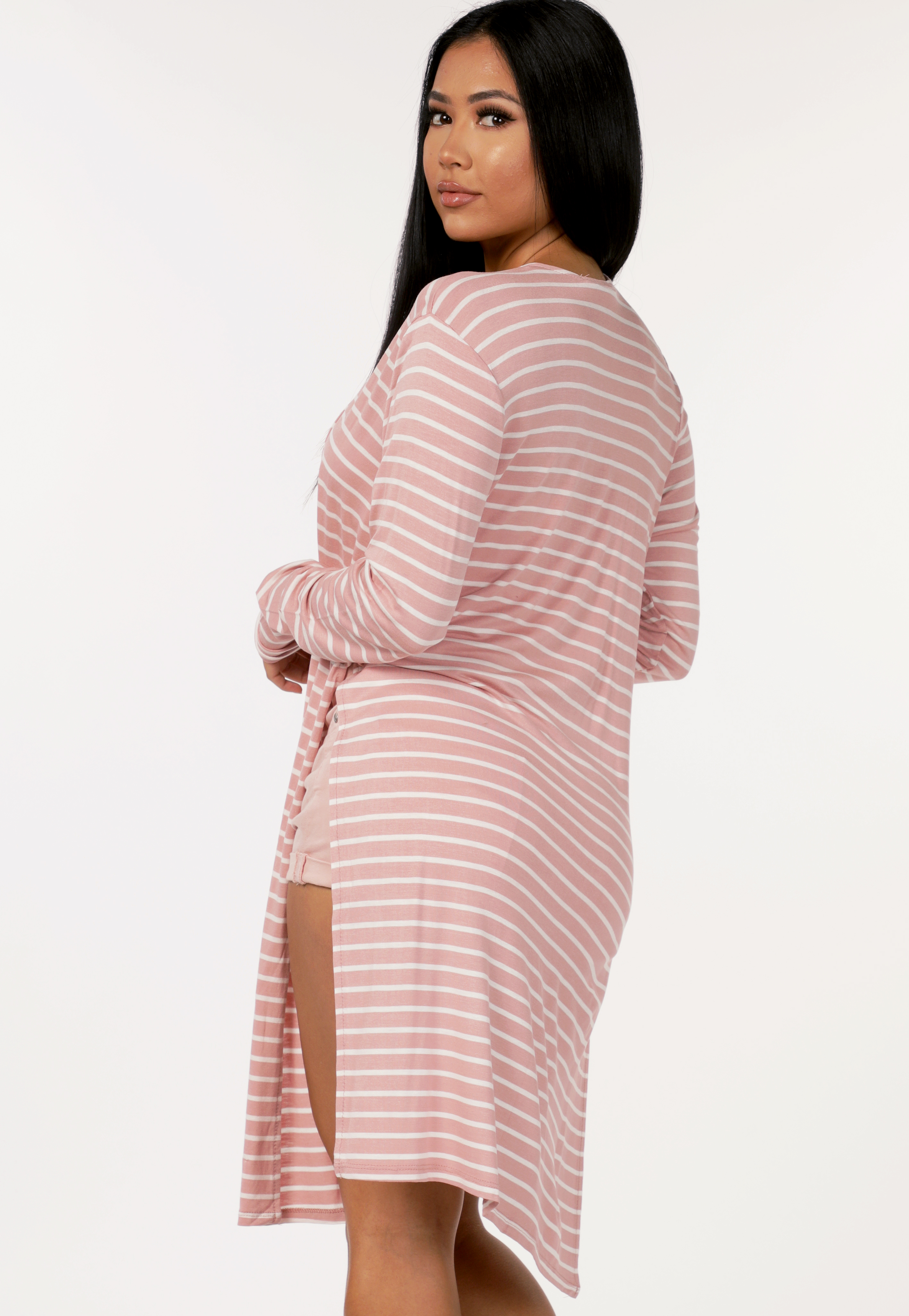 Striped Side Cut Out Cardigan
