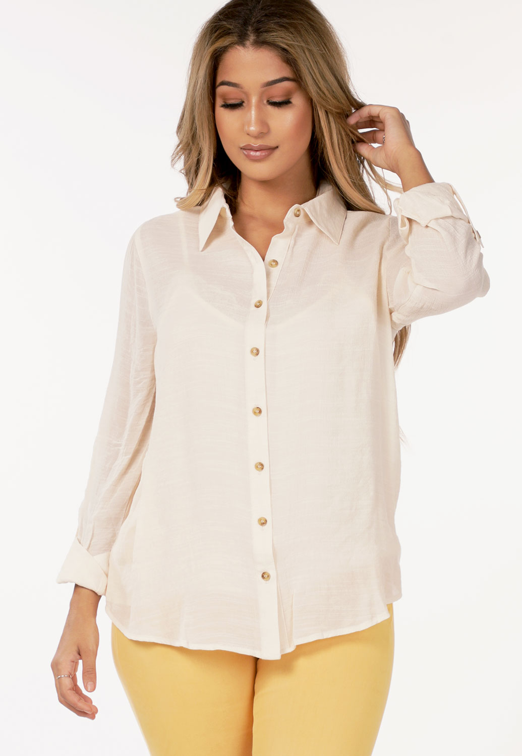 Button Up Dressy Blouse