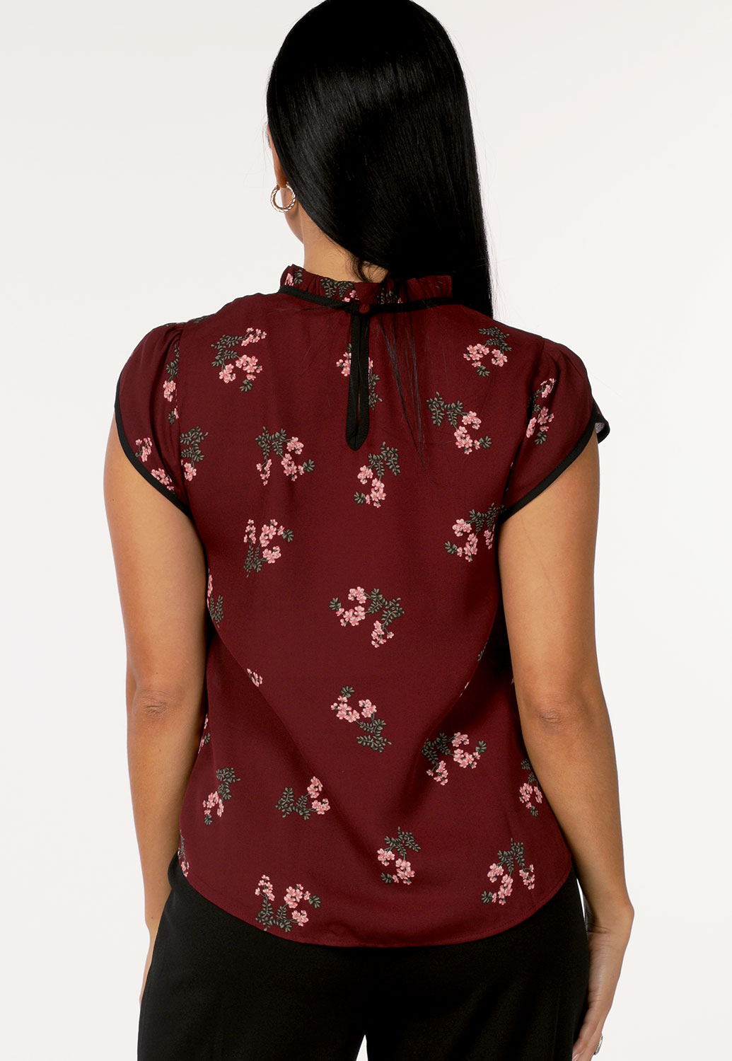 Floral Ruffle Trim Dressy Top
