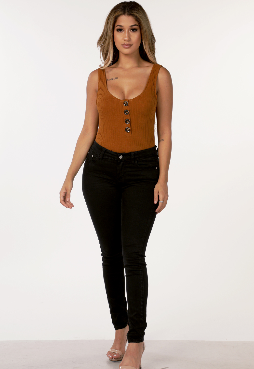 Ribbed Button Detail Bodysuit