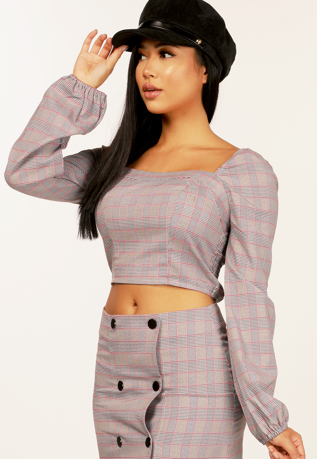 Off The Shoulder Glen Plaid Top