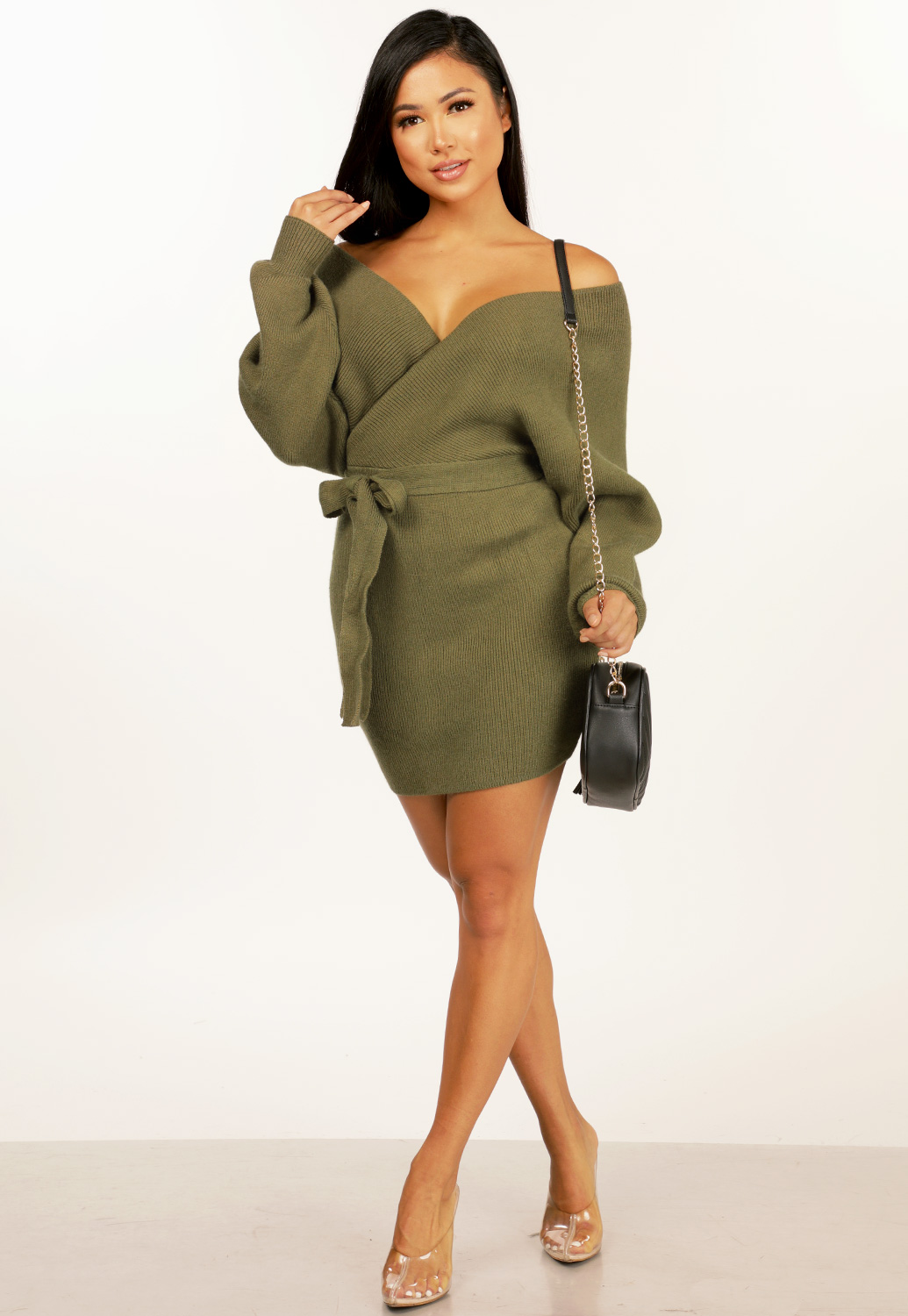 Wrap Tie Front Mini Dress