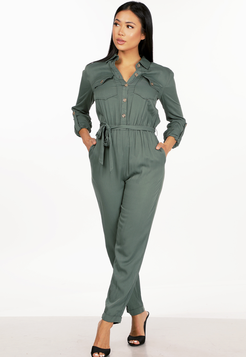 Button Up Long Sleeve Jumpsuit